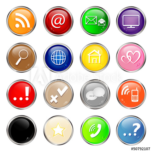 500x500 Set Of Social Media Glossy Buttons. Vector.
