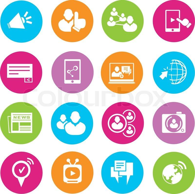 800x796 Social Media Buttons Stock Vector Colourbox