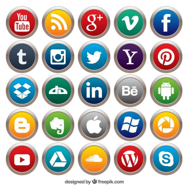 626x626 Social Media Buttons Vector Free Download