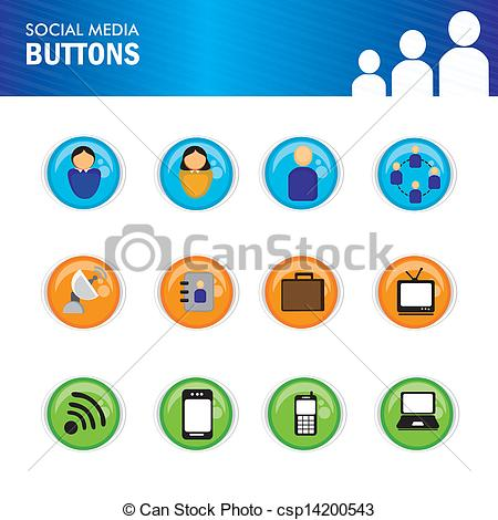 450x470 Social Media Buttons Over White Background Vector Illustration .