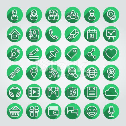 440x440 Flat Social Media Icons Round Green Set Stock Vector