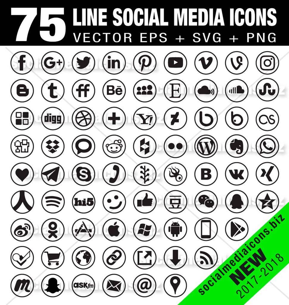 971x1024 Line Social Media Icons