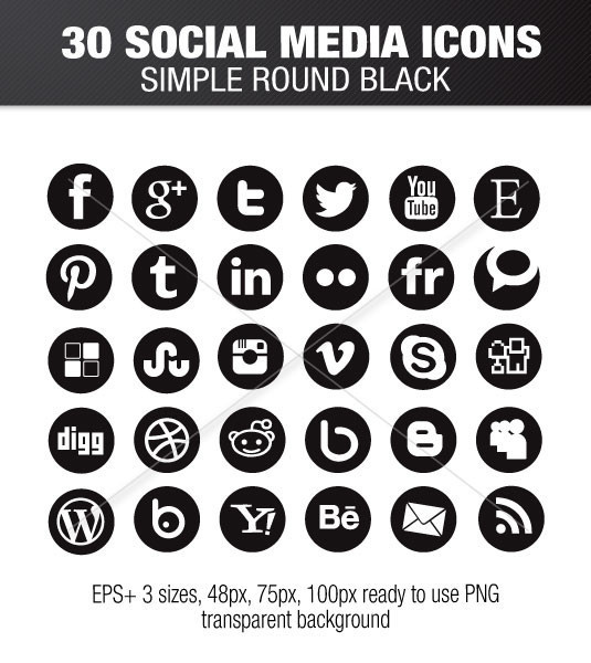 535x600 Round Social Media Icons Collection White Stock Download