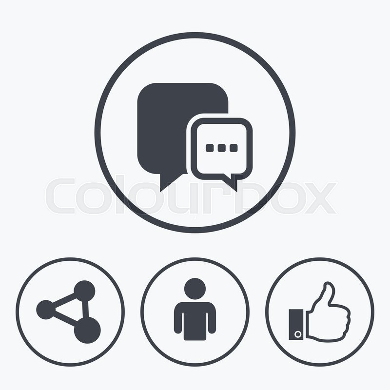 800x800 Social Media Icons. Chat Speech Bubble And Share Link Symbols