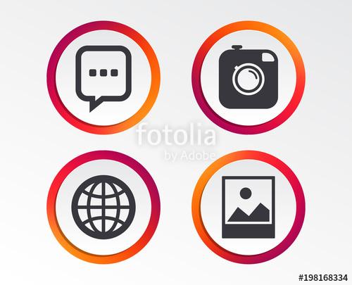 500x405 Social Media Icons. Chat Speech Bubble And World Globe Symbols