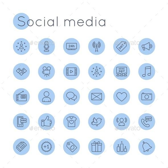 590x590 Vector Round Social Media Icons By Dashadima Graphicriver