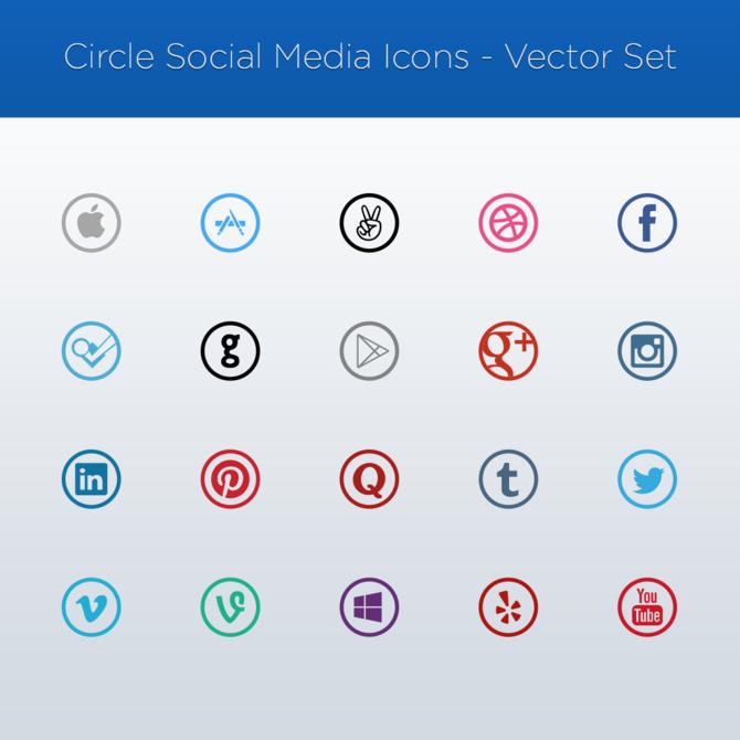 670x670 Vector Social Media Icons
