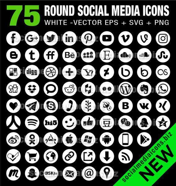569x600 Vector White Social Media Icons