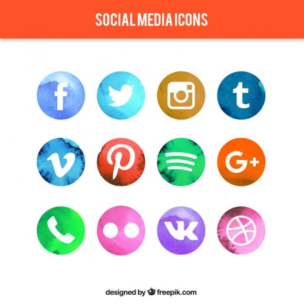 626x626 Watercolor Circular Social Media Icons Vector Free Download