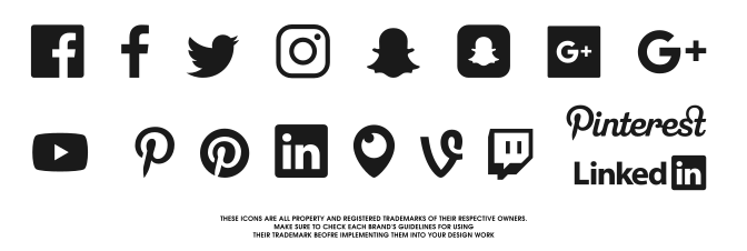 672x226 Free Social Media Icons Svg Vector Pack For 2017