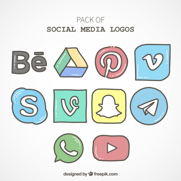 626x626 Pack Of Hand Drawn Social Media Icons Vector Free Download