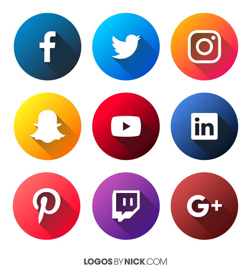 Social Media Icons Vector 2017