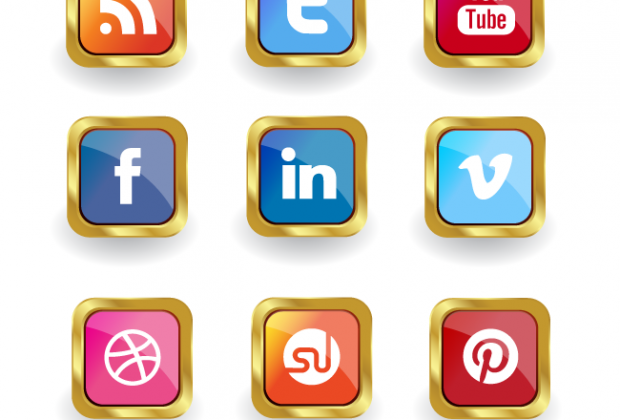 620x420 Premium Members Golden Vector Social Media Icon Set Creative Nerds