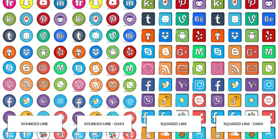 900x450 160 Vector Social Media Icons Free Design Resources