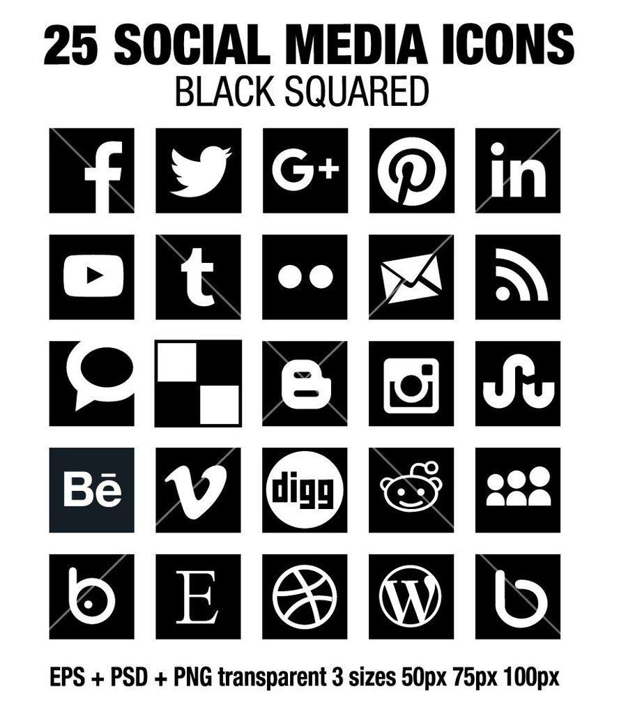 888x1024 Simple Social Media Square Black Icons Social Media Icons