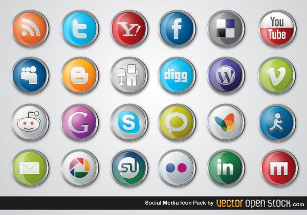 600x420 Social Media Icons Vector Free Pack 123freevectors