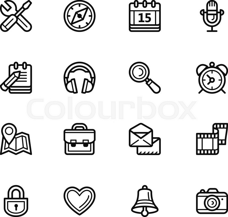 800x761 Social Media Icons Vector Simple Linear Style, On A White