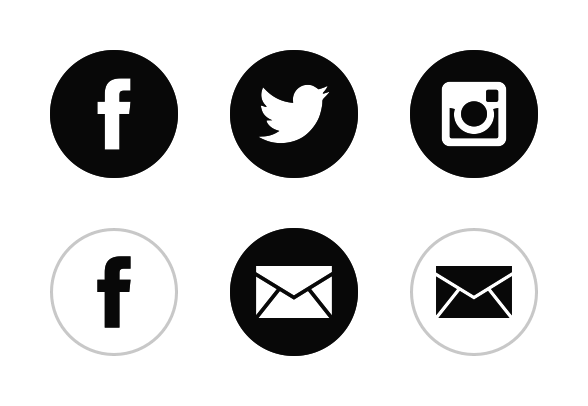 588x406 Black White Social Media Icons By