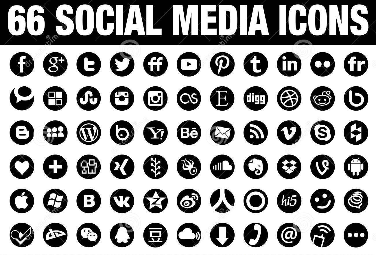 1300x883 66 Round Vector Social Media Icons Black