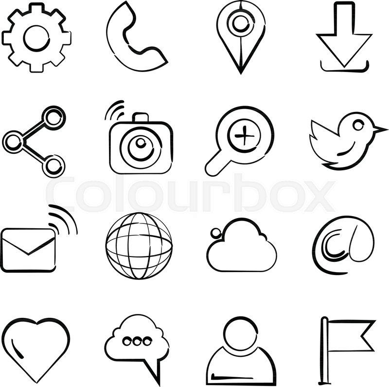800x795 Hand Drawn Social Media Icons Stock Vector Colourbox