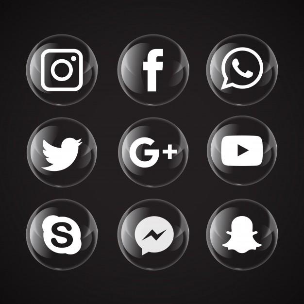 626x626 Transparent Bubble Social Media Icons Vector Free Download