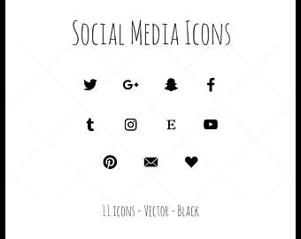 340x270 Vector Social Media Icons 21 Icons Dark Gray Outline Style Etsy