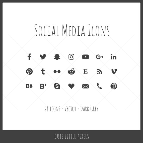 570x570 Vector Social Media Icons 21 Icons Dark Gray Solid Icon Etsy