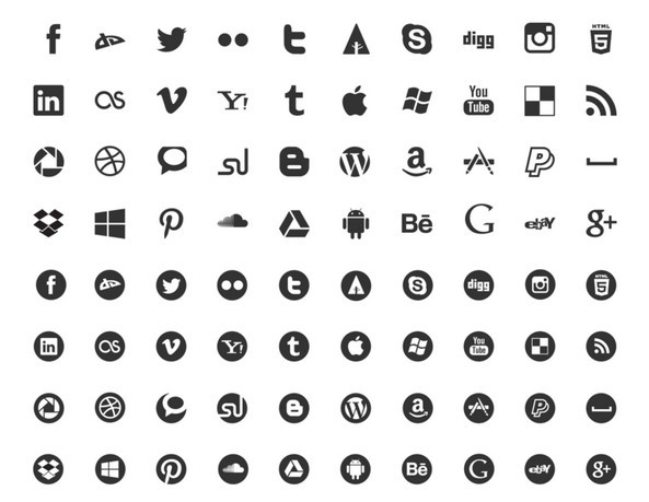 593x459 13 Social Media Icons Vector Black And White Images