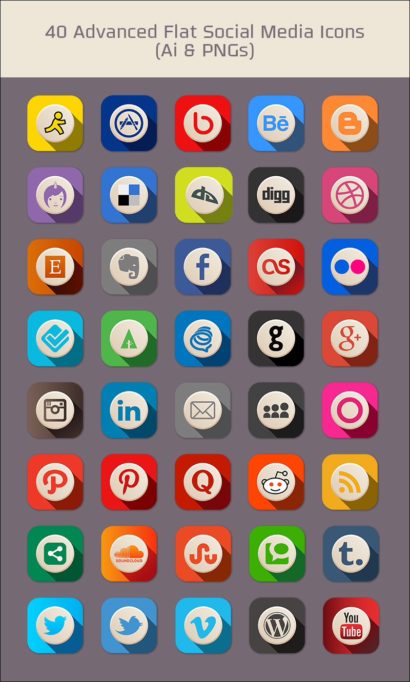 800x1331 40 Free Advanced Flat Social Media Icons (Pngs Amp Vector File)