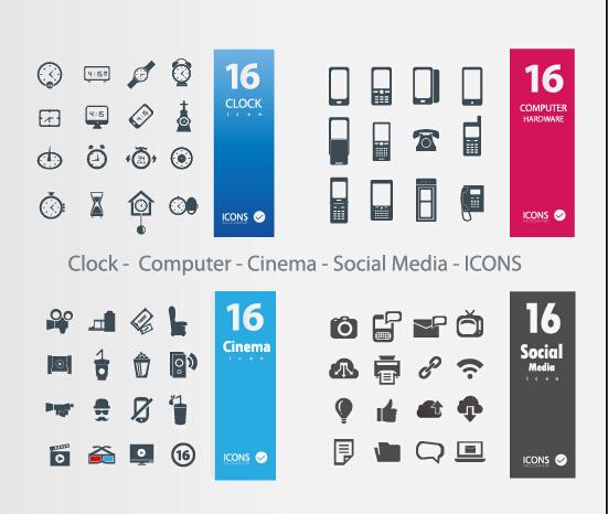 551x466 Clock Computer Cinema Social Media Icons Vector Free Download