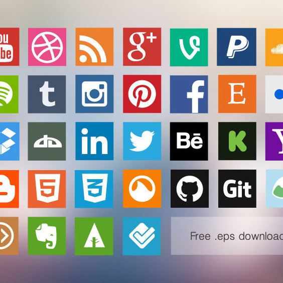 564x564 Flat Social Media Icons Free Vector Download 202749 Cannypic