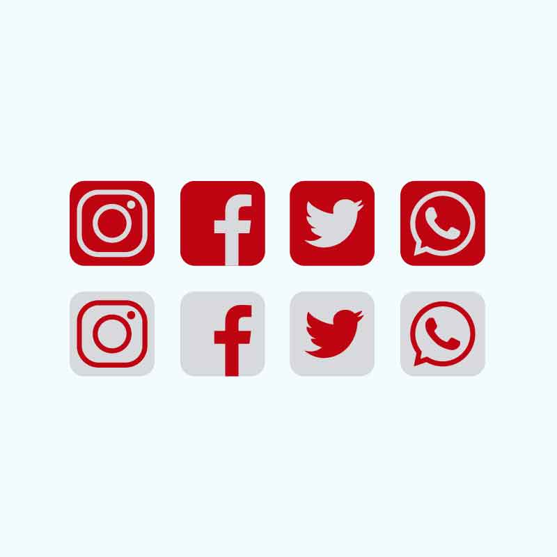 800x800 Red Social Media Icons Collection Free Vector Download