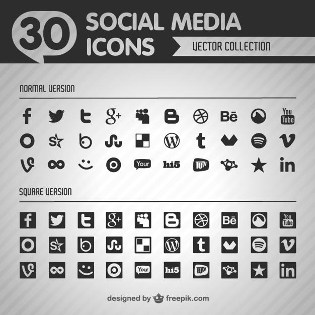626x626 Social Media Black Icons Vector Free Download