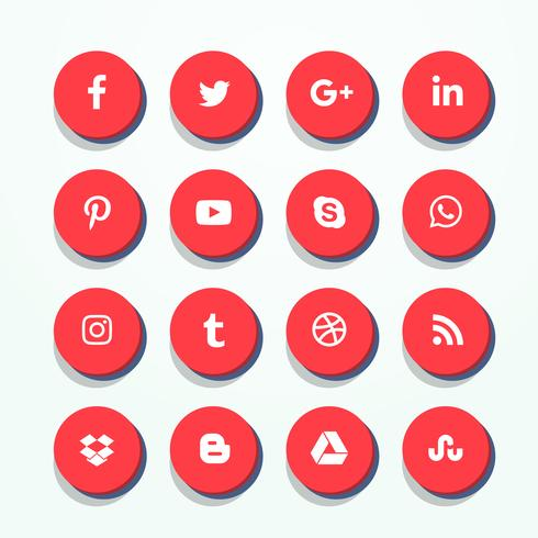 490x490 3d Red Social Media Icons Pack