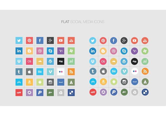 700x490 Flat Social Media Icon Vectors Free Vector Art