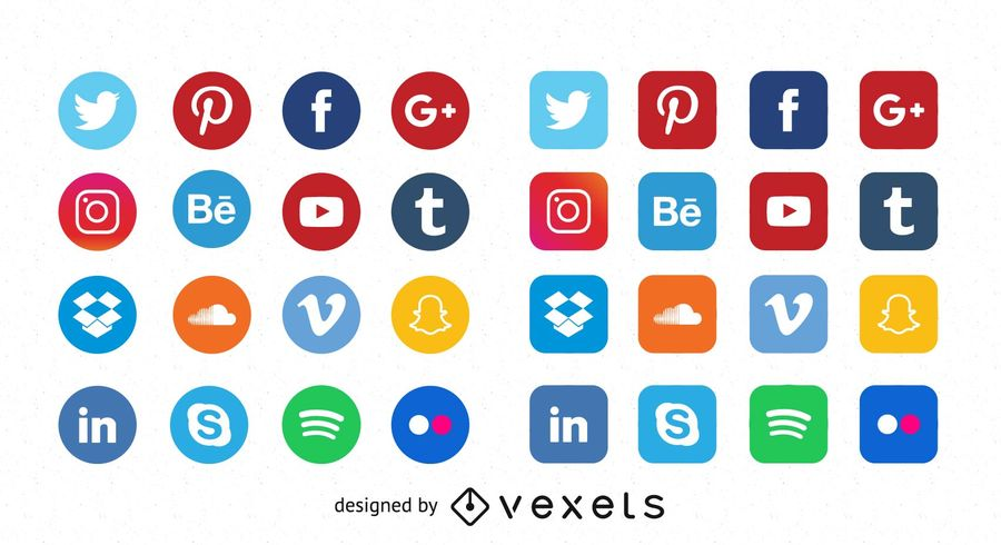 900x490 Free Quality Flat Social Media Icons
