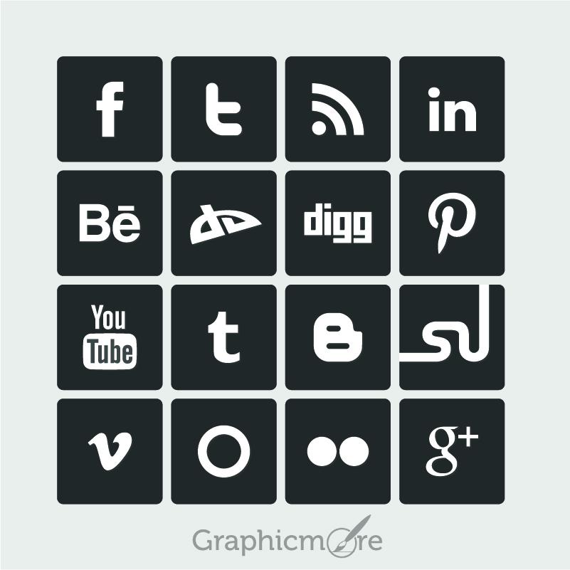 801x801 Simple Social Media Icons Free Vector Design