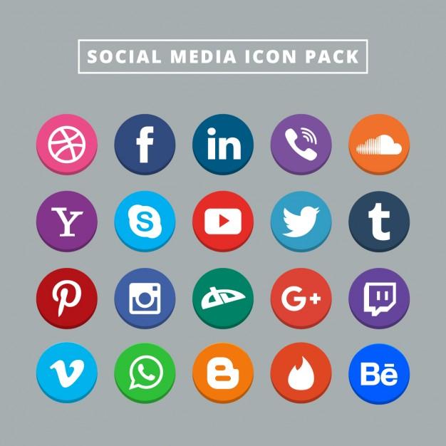 626x626 Twenty Social Media Icons Vector Free Download
