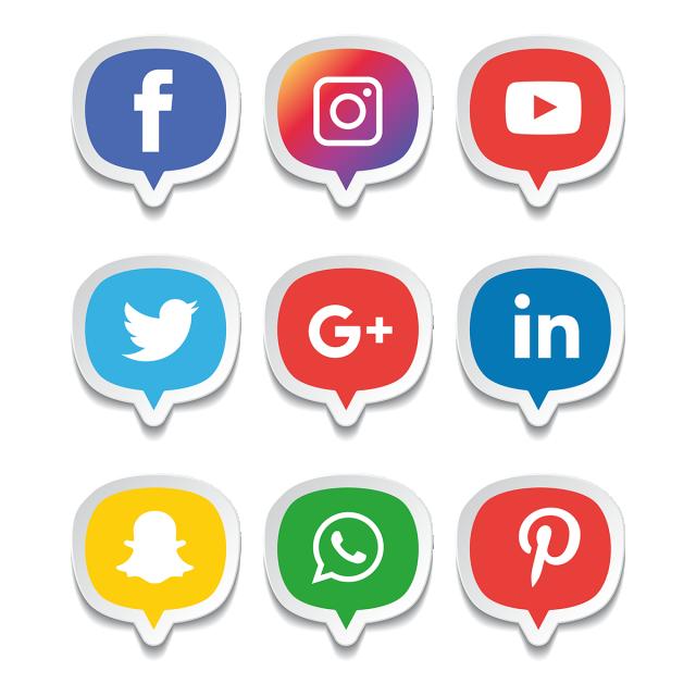 640x640 Social Media Icons Set. Logo Vector Illustrator, Social, Media