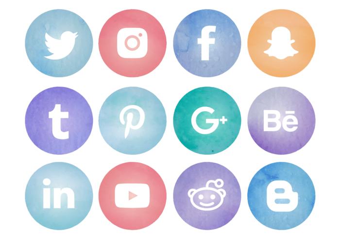 700x490 Watercolor Social Media Logos