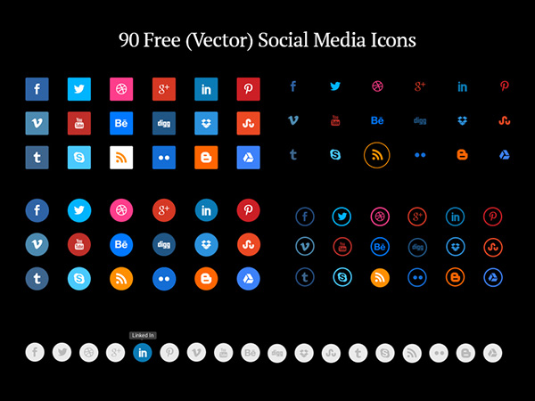 600x450 Absolutely Free Social Media Icons Sets