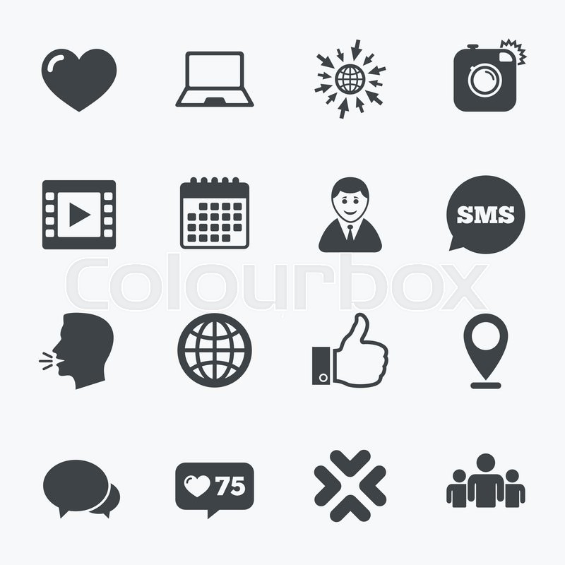 800x800 Calendar, Go To Web And Like Counter. Social Media Icons. Video