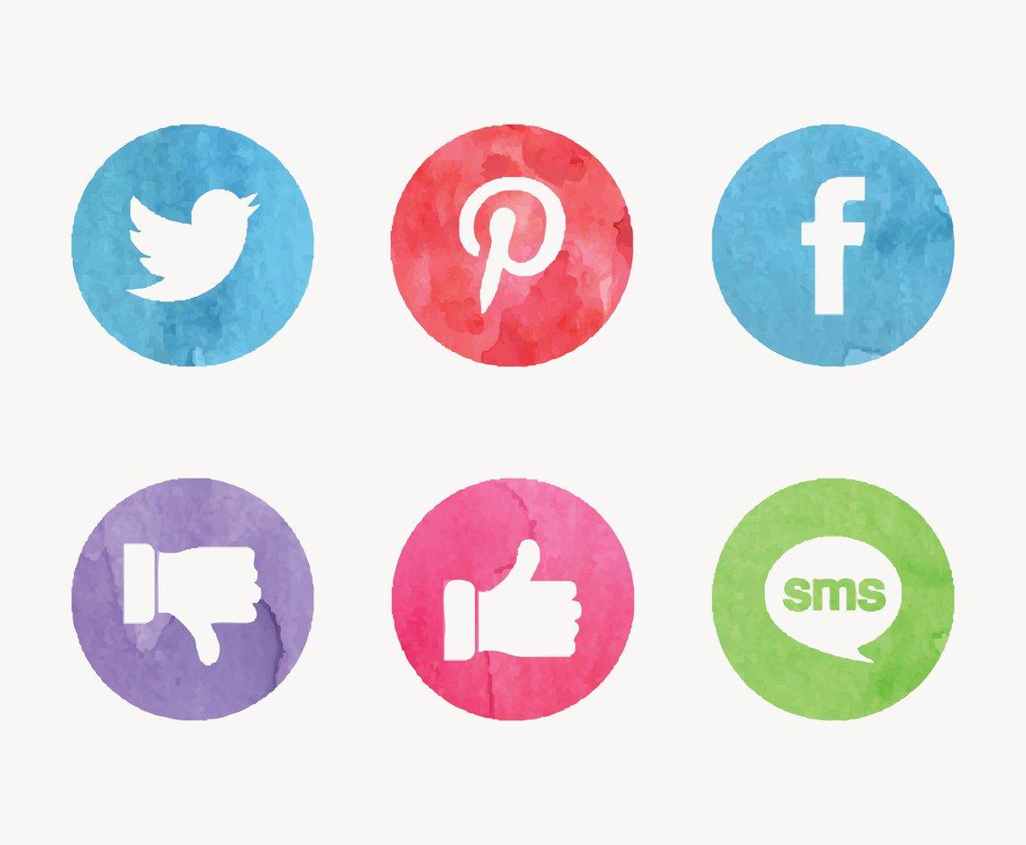 1136x936 Free Watercolor Social Media Vector Icons Vector Art Amp Graphics