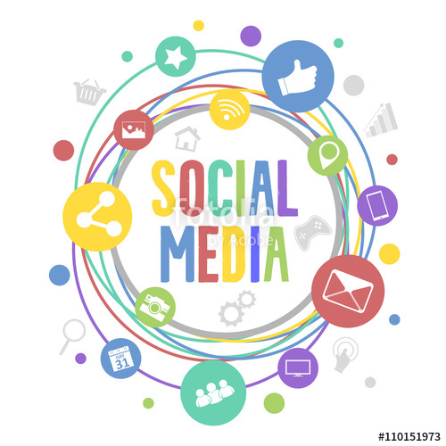 500x500 Social Media Vector Concept With Circle Colorful Icons. Social