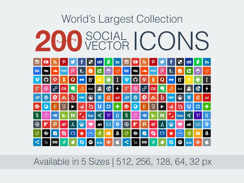 800x600 200 Vector Social Media Icons By Zee Que Designbolts