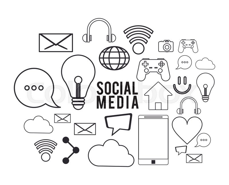 800x649 Black And White Social Media Icon Set. Flat And Isolated