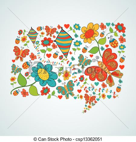 450x470 Spring Social Media Chat Bubble Talk . Spring Flower And Butterfly