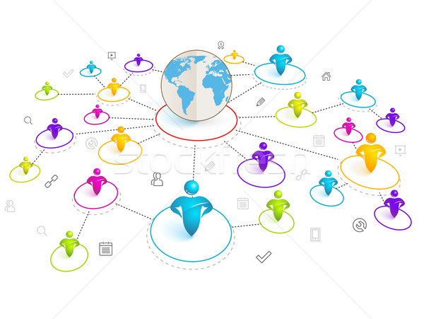 600x451 Isometric 3d Social Media Network. Vector Illustration With World