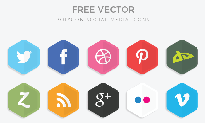 700x420 Polygon Vector Social Media Icons Marketing Social