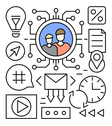 438x490 Free Linear Social Media Vector Illustration